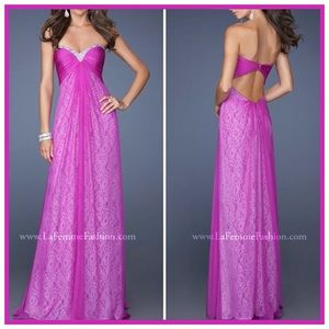 🏷 🆕 Bright Pink / Magenta Purple Lace Gown Dress